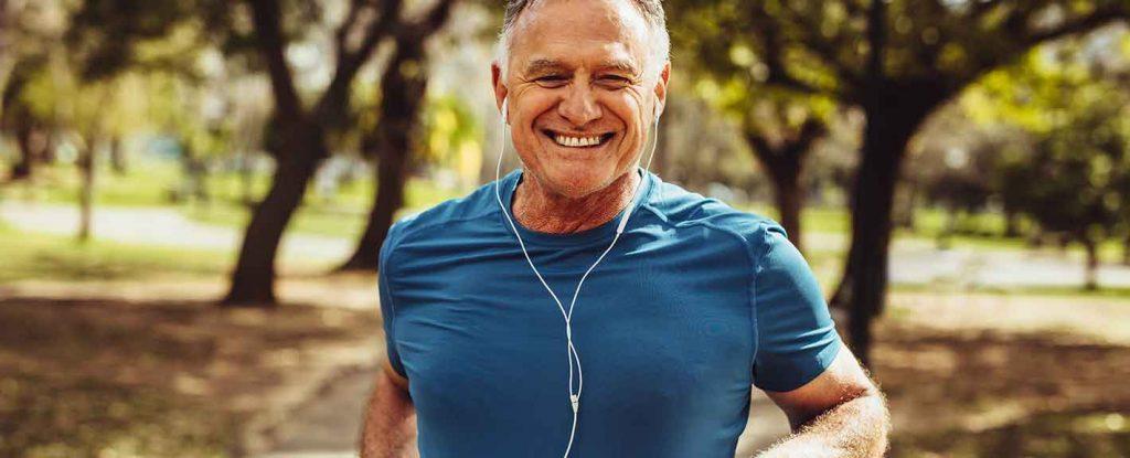 elderly gentleman running